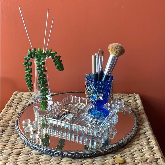 VTG MCM glass trinket dish/blue hobnail cup/votive